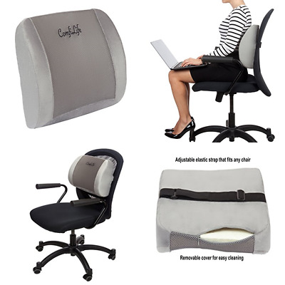 Lumbar Support Back Pillow Office Chair & Car Seat Cushion Memory Foam W Adjusta