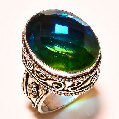 """Faceted Multi Tourmaline With Vintage Design 925 Silver Jewelry Ring S-8.50"""""""