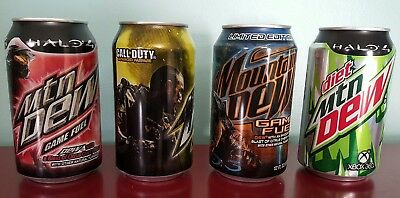 Mountain Dew Cans, mtn collectible Halo 3 Halo 4 Call of Duty Game Fuel