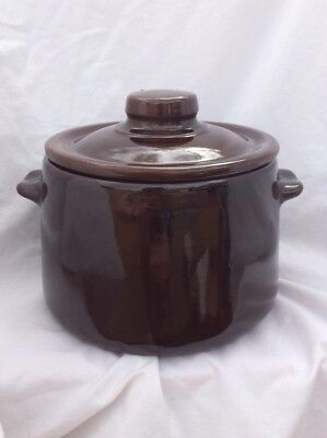 Vintage USA Stamped Pottery Stoneware Bean Pot Cookie Jar Crock W/ Lid