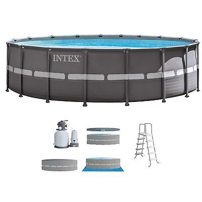 """Intex 18'x52"""" Ultra Frame Above Ground Swimming Pool Set with Sand Filter Pump"""