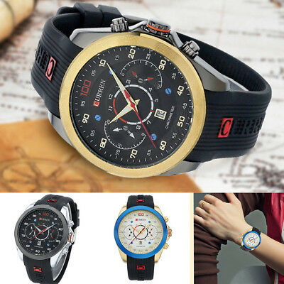 CURREN Men's Stainless Steel Rubber Casual Date Quartz Waterproof Wrist Watch