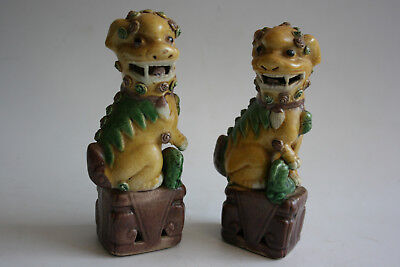 Pair of Chinese Porcelain Carved Painted Foo Dog Figurine Statue