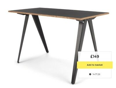 MADE.COM Computer Desk Study Writing Table Home Office Wooden & Metal Leg