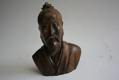 Antique Chinese Wooden Carved Old Man Head and Half Top Figure Statue