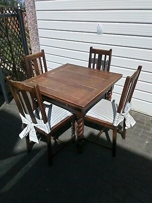 Solid Oak Barley Twist Extending Draw Leaf Dining Table and 4 chairs
