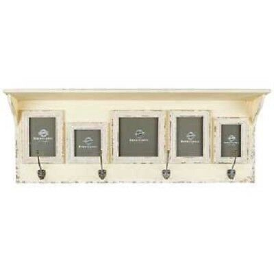 Antique Style Cream Wall Shelf with 5-Frames & 4-brass Hooks (FREE SHIPPING)