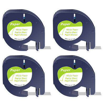 4 PK for DYMO Letratag Refills Label Tape 91330 12mm Black on White QX50 Printer