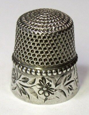 Antique Stern Bros. & Co. Sterling Silver Thimble Folk Art Flowers & Bumble Bees