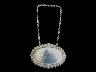 Vintage Antique Sterling Silver Gin Liquor Decanter Tag Label 18.6g E1843