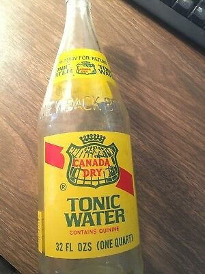 vintage CANADA DRY clean litho TONIC WATER glass bottle 32 ounce VG