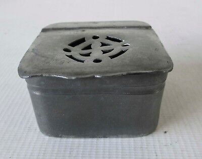 ANTIQUE 19th century FRENCH PEWTER SPICE JAR / POTPOURRI TIN / LIDDED CONTAINER