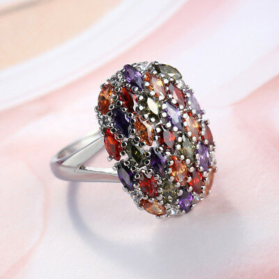 Multi-color Amethyst Garnet Topaz 925 Sterling Silver Engagement Ring Size 6-12