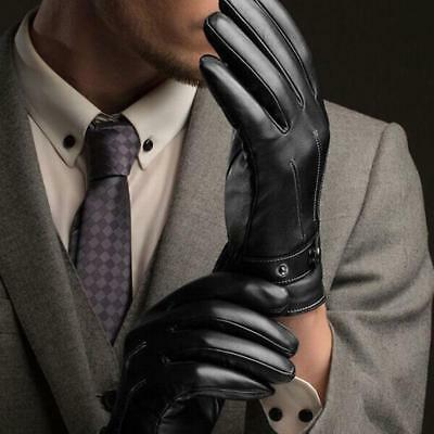Fashion Men Winter Leather Motorcycle Full Finger Touch Screen Warm Glove Gift