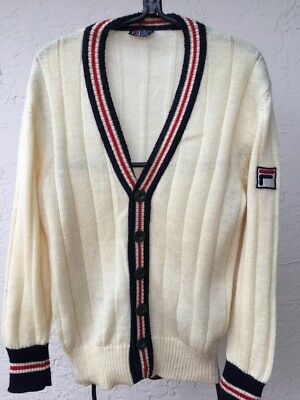 Vintage 1973 Fila Settanta Bj Borg Pure Wool Mens Cardigan Sweater Sz 42