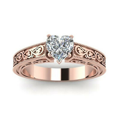 Trendy 925 Silver Rose Gold Plated White Topaz Jewelry Women Party Ring Sz6-10