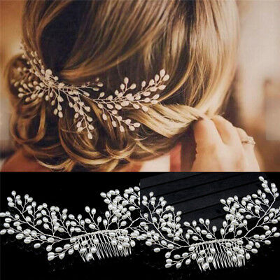 Luxury Vintage Bride Hair Accessories Handmade Pearl Wedding Jewelry Comb OET