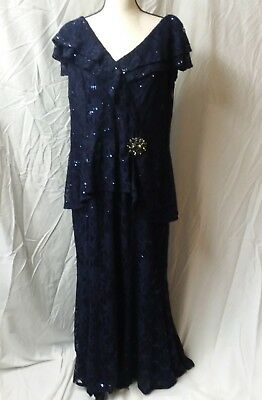 URSULA OF SWITZERLAND Mother of the Bride Formal Dress Blue Lace Size 18