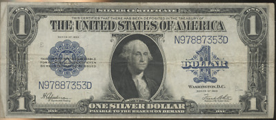 1923 One Dollar Blue Seal Silver Certificate large note HORSE BLANKET