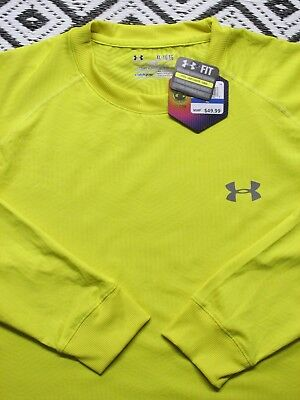 Under Armour Men's XL ColdGear Long Sleeve Compression Shirt Yellow NWT