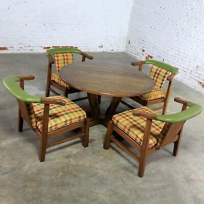 A Brandt Company Ranch Oak Brunch or Game Table and Four Chairs