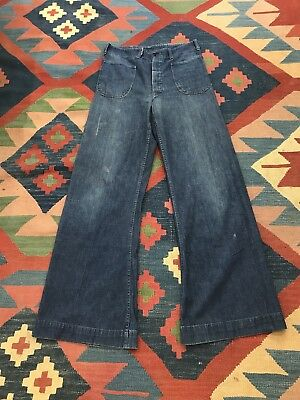 VINTAGE WW2 USN DENIM PANTS TROUSERS JEANS SELVEDGE SZ 33x33 US NAVY WWII