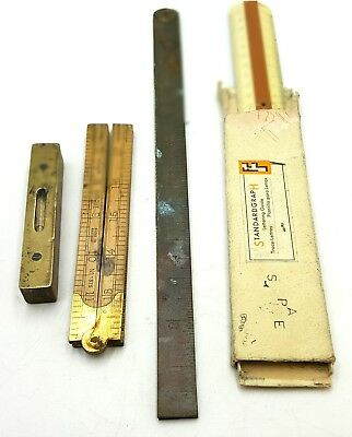Job lot of three vintage rulers and brass  level