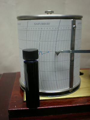 """Barograph """"INK BLUE"""" in a Glass Bottle / parts spares chart nib barometer clock"""