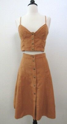 Urban Outfitters Faux Suede Skirt Button Down New Size Small A Line Boho