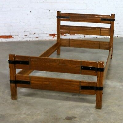 Four Ranch Oak Western Cowboy Twin Beds with Strap Details Attributed to A. Bran