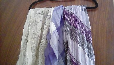 job lot of ladies purple and white summer scarves