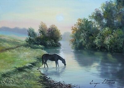J. Litvinas Original Oil Painting 'HORSE IN THE WILD' 14 by 10 inches