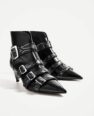 cc16fba80edc8 ZARA LEATHER ANKLE Boots With Straps Black 1104/201 - $65.00   PicClick