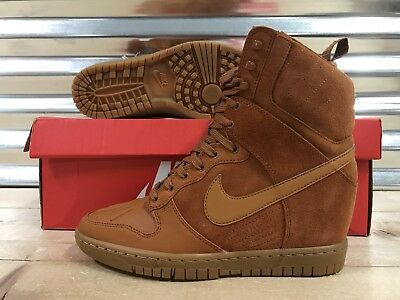 sale retailer 19792 75530 WMNS Nike Dunk Sky Hi Sneakerboot 2.0 Wedge Shoes Tawny Brown SZ (  684954-200