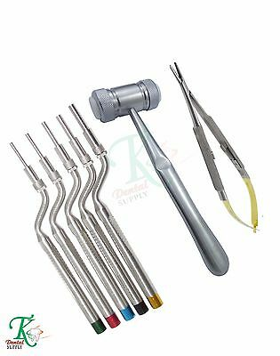 Surgical Implants Kit Sinus Osteotomes+Mead Hammer+Castroviejo Needle Holders