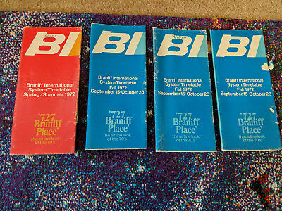 1972 LOT of Braniff Airline Schedules Timetables Brochures Collectible