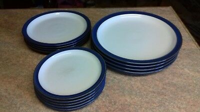 Denby Imperial Blue plates, 4 dinner, 4 supper/salad & 5 tea plates
