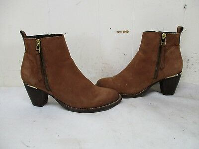 9884d9600576 Steve Madden Wantagh Brown Suede Leather Zip Ankle Boots Womens Size 7.5 M