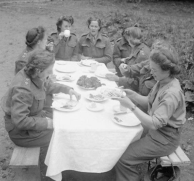 WW2 Photo WWII  Canadian Nurses Have Lunch Normandy June 44 World War Two / 1518