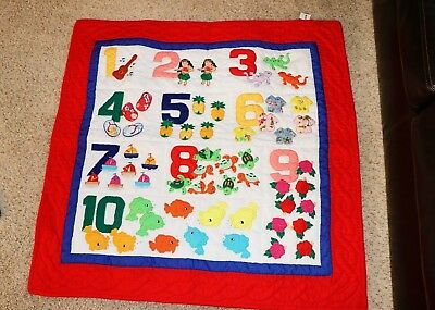 Hawaiian STYLE quilt baby blanket hand quilted wall hanging Numbers Hawaii