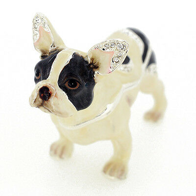 Fantasyard Crystal Black & White French Bulldog Trinket Box 3.75""