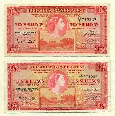Lot 908 Bermuda Currency 10 Shilling Notes   1957 2Nd Series  Very Fine