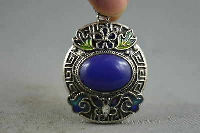 Collection Handwork Old Miao Silver Carve Flower Inlay Agate Lucky Noble Pendant