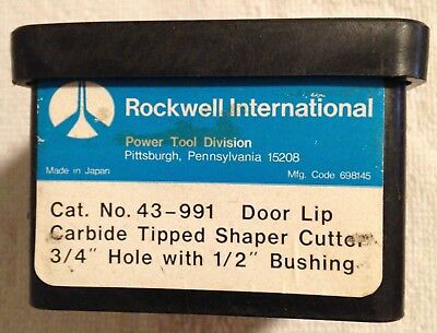 "Rockwell #43-991 Door Lip Carbide Tipped Shaper Cutter 3/4 "" hole 1/2"" Bushing"