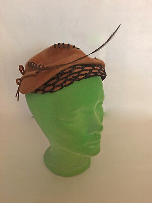 Vintage Brown Sand Swept Single Feather Hat Size 22