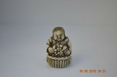 A Fine Meiji period Netsuke of a fruit seller with his basket and a Pumpkin