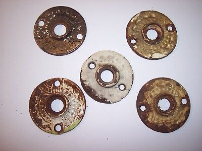 Lot of 5 Victorian Eastlake Door Knob Back Plate Rosette Ornate Antique Vintage