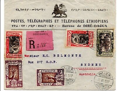 Ethiopia: 1927 Registered cover from Dire Daoua to Sydney Australia