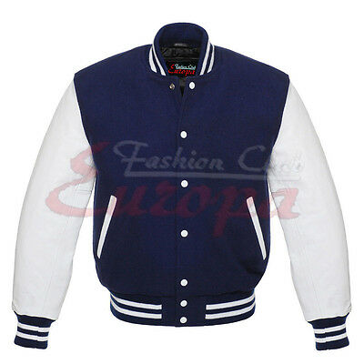 Royel Blue Wool Varsity Letterman  Jacket with White Leather Sleeves XS TO 4XL