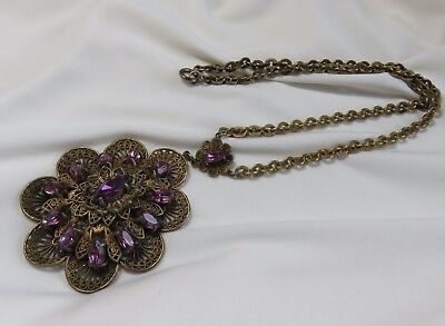 Antique Purple Amethyst and Brass Necklace